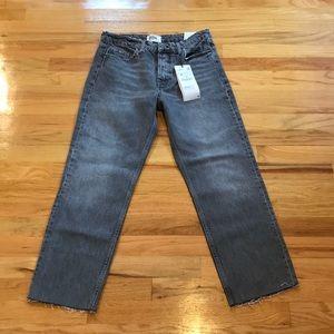 Zara hi rise jeans raw hem straight leg Sz 6
